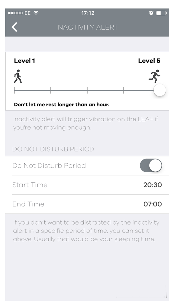 Activity tracker - The LEAF has an inactivity alert to remind you to move
